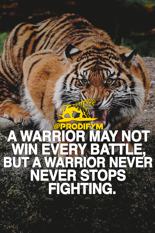 [image] A warrior may not win every battle, but a warrior never stops fighting.