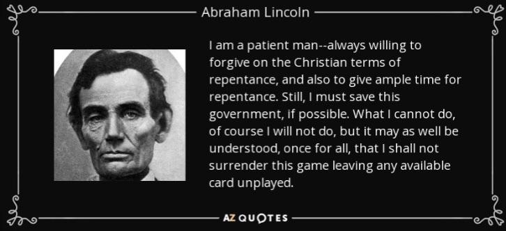 """I shall not surrender this game leaving any available card unplayed"" – Abraham Lincoln {1080×1080}"