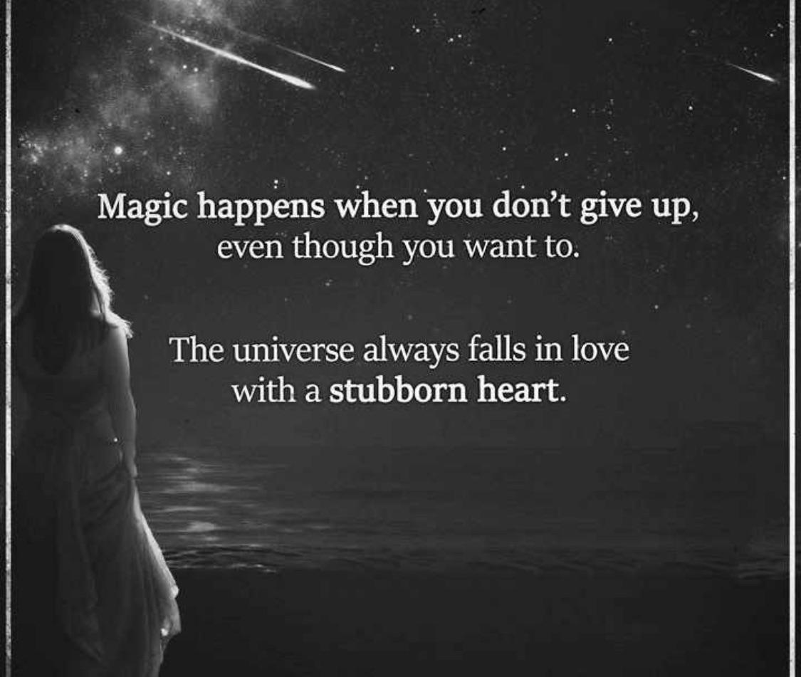 Magic happens when you don't give up, even when you want to. The universe always falls in love with a stubborn heart. -JM Storm [1125×951]