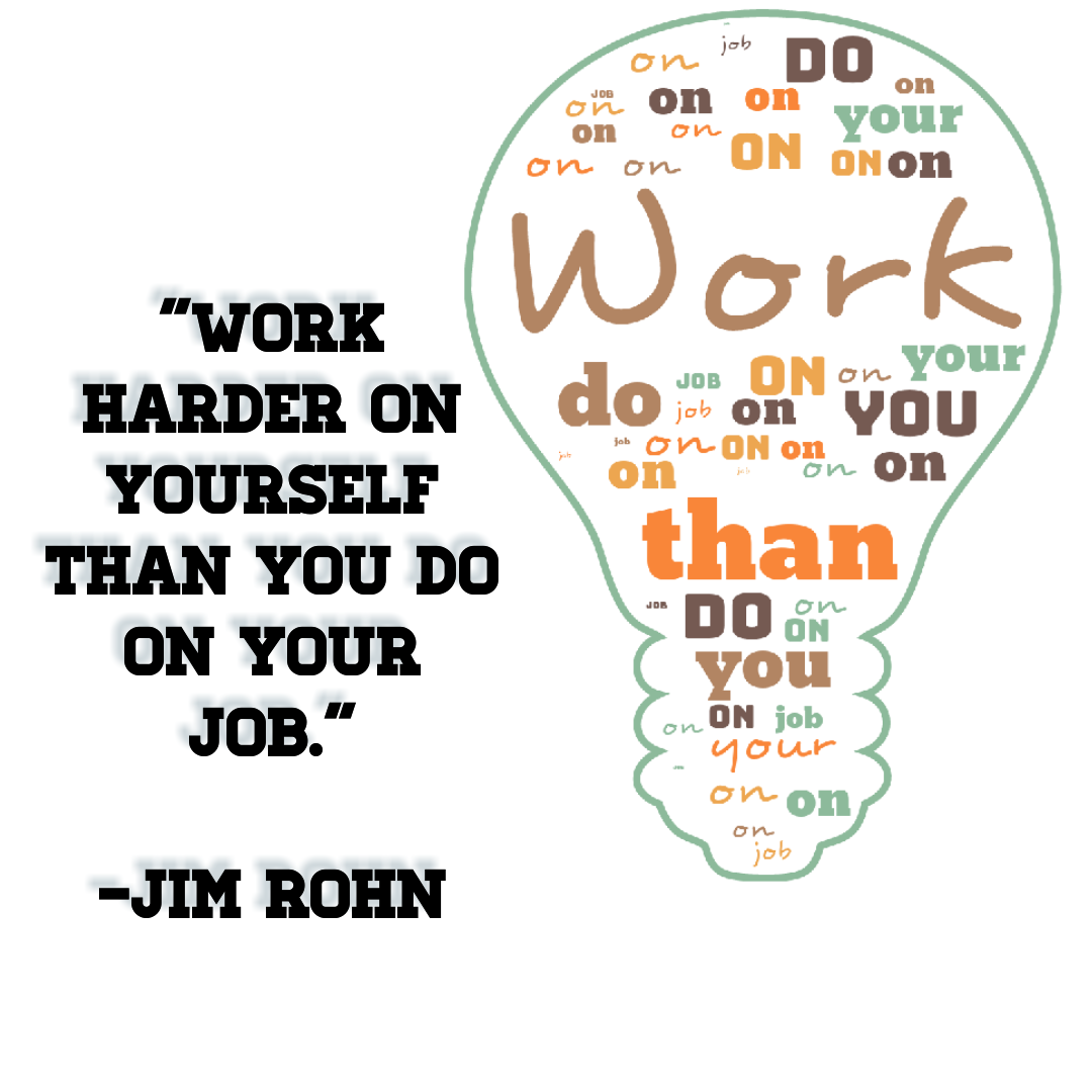 """Work harder on yourself than you do on your job.""[1080*1080] -Jim Rohn"