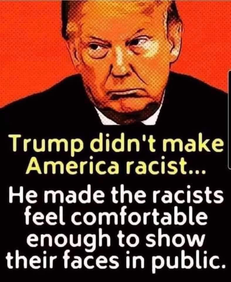 """Trump didn't make America racist…He made the racist feel confortable enough to show their faces in public"" – Anonymous [788×960]"