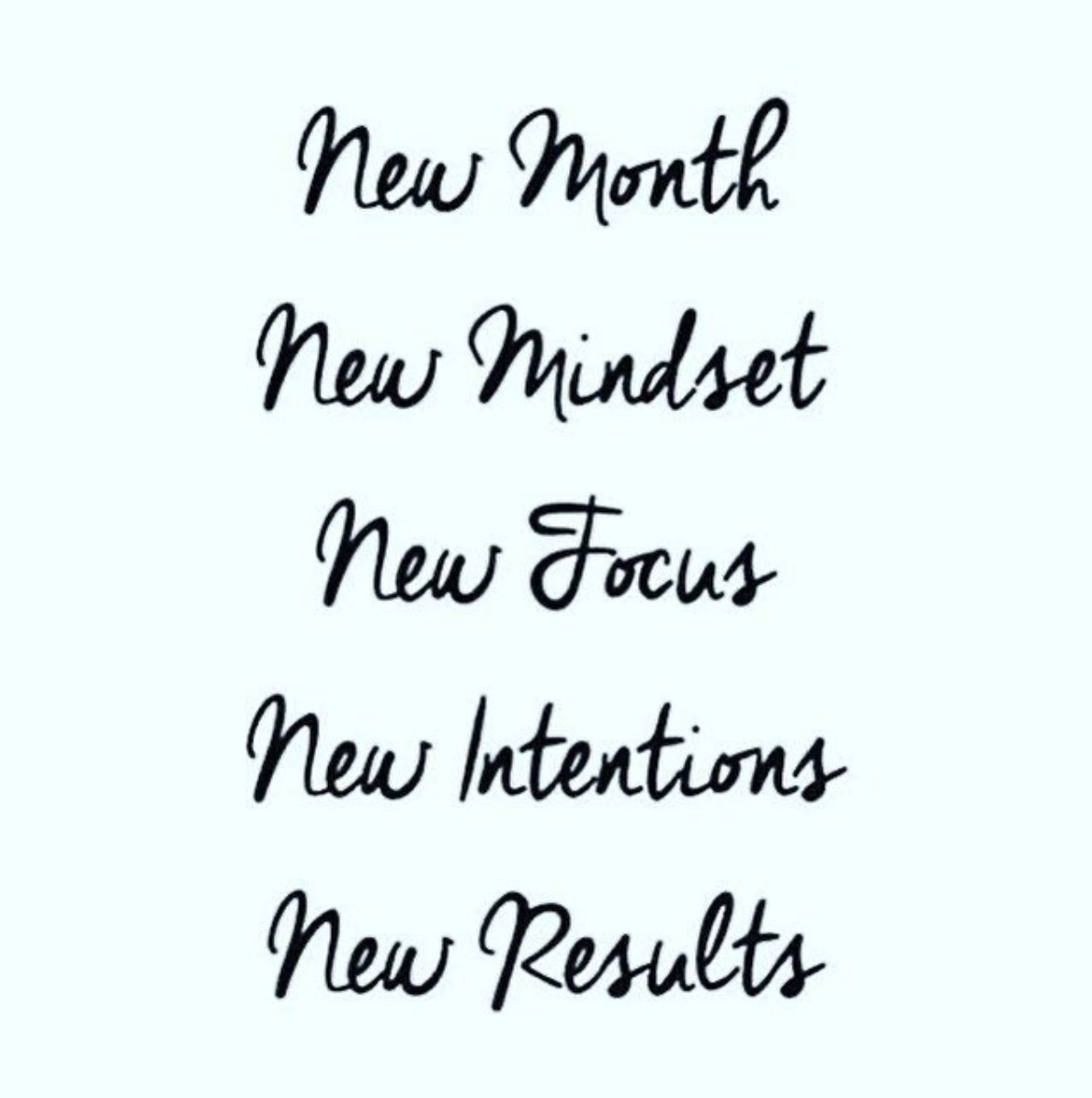 [Image] New month. New mindset. New focus. New intentions. New results.