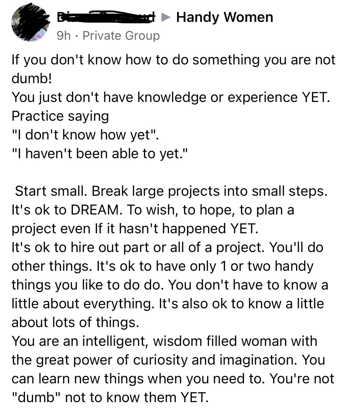 "[image] I love this group of women so much. They are empowering and encouraging in an area that is too often considered a ""mans world"""