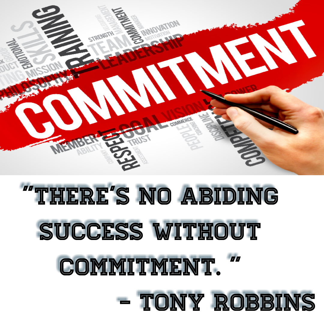 There's no abiding success without commitment.[1080*1080] – Tony Robbins