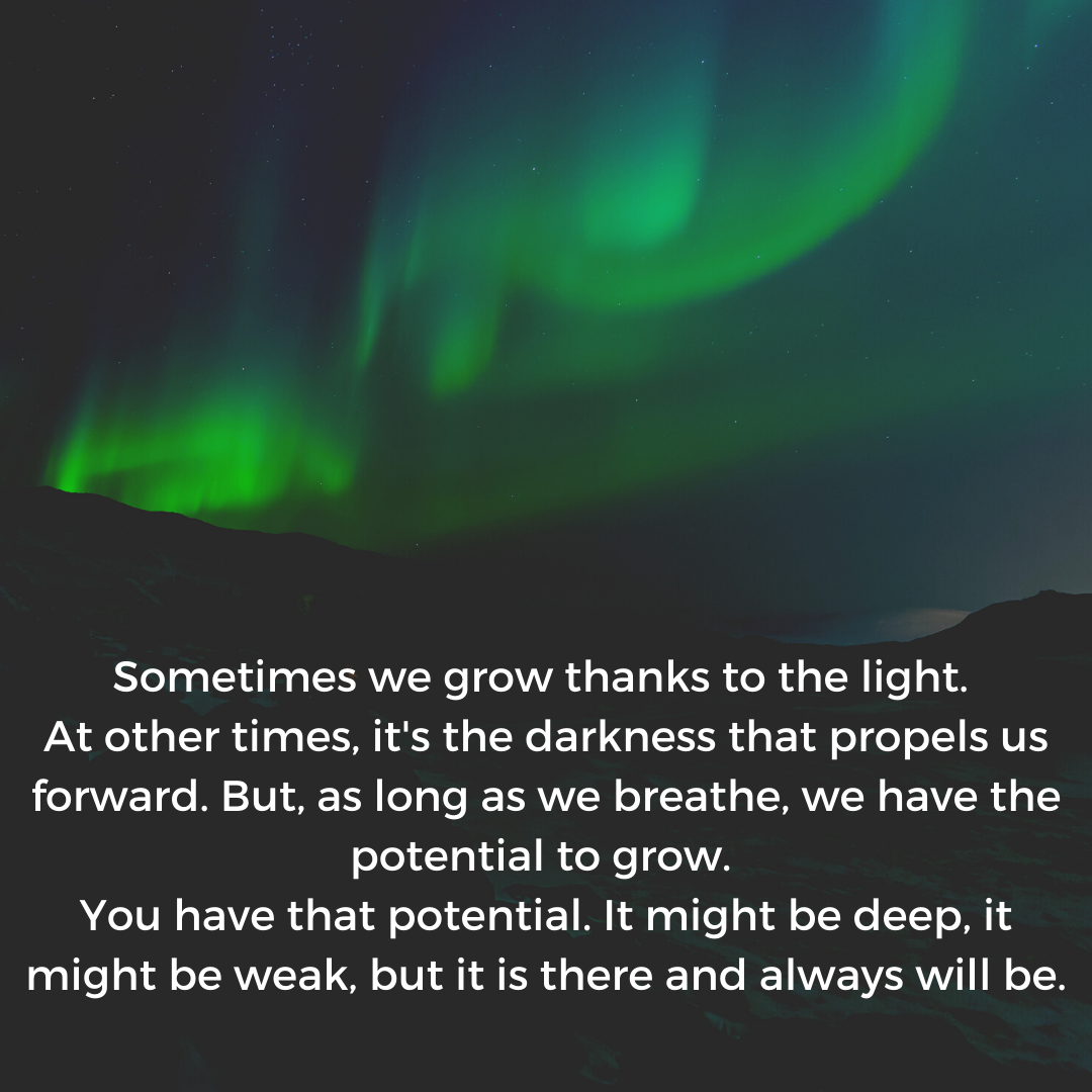 P'N Sometimes we grow thanks to the light. At other times, it's the darkness that propels us forward. But, as long as we breathe, we have the potential to grow. You have that potential. It might be deep, it might be weak, but it is there and always will be. https://inspirational.ly