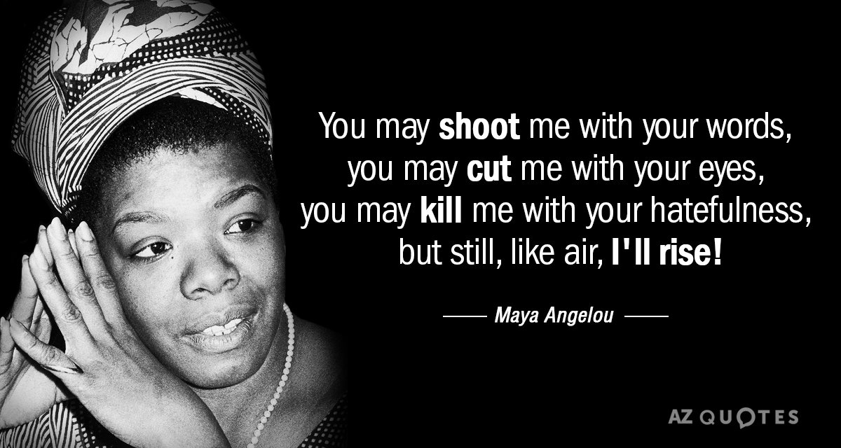 "You may cut me with your eyes, You may kill me with your hatefulness, But still, like air, I'll rise.""-Maya Angelou { 1200X640}"