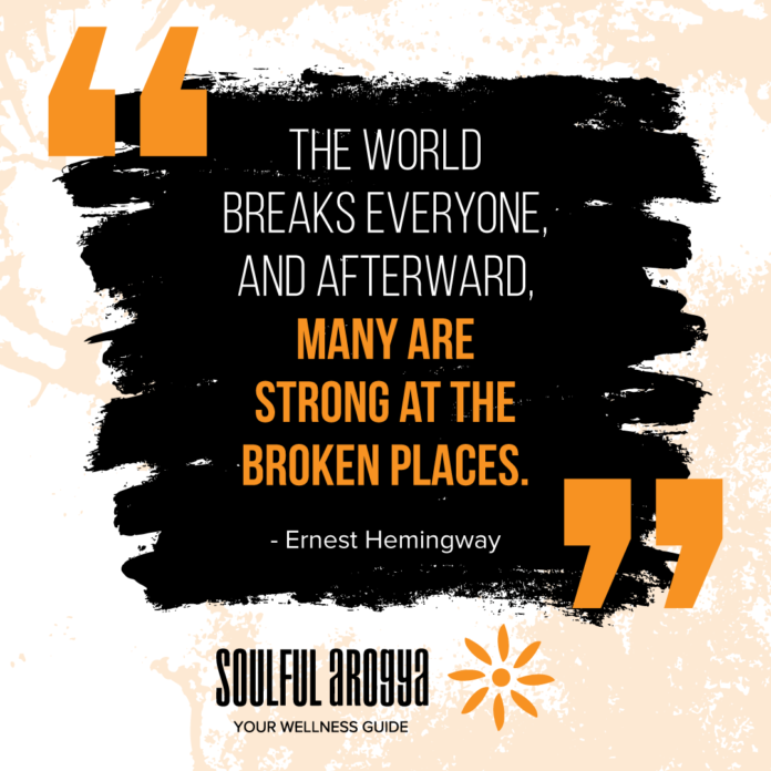 """The world breaks everyone, and afterward, many are strong at the broken places."" — Ernest Hemingway [696×696]"