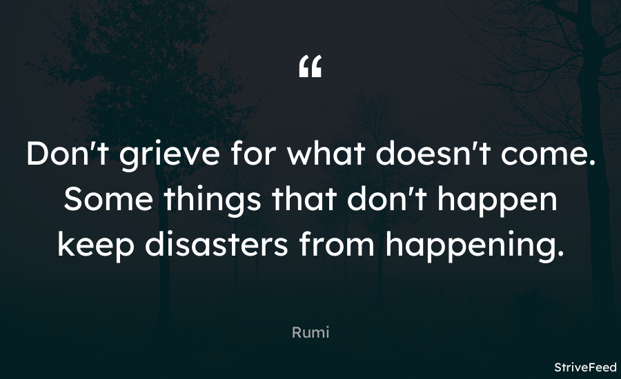 """ Don'T grieve for what doesn'T come. Some Things That don'T happen keep disasters from happening. https://inspirational.ly"