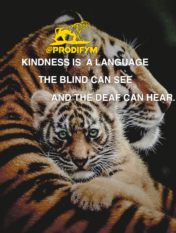 "[image] ""Kindness is a language the blind can see and the deaf can hear. """