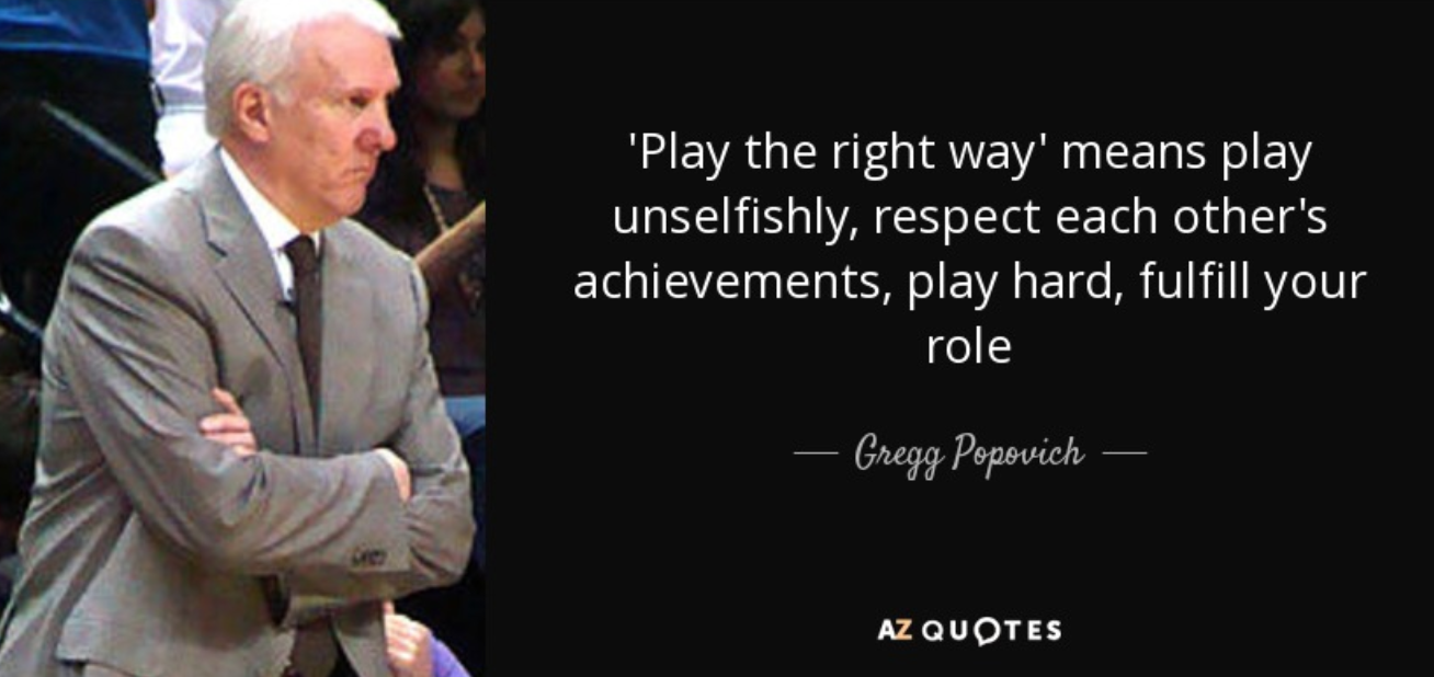 Play the right way, means play unselfishly, respect each other's achievements, play hard, fulfill your role. -Gregg Popvich [1308×618]