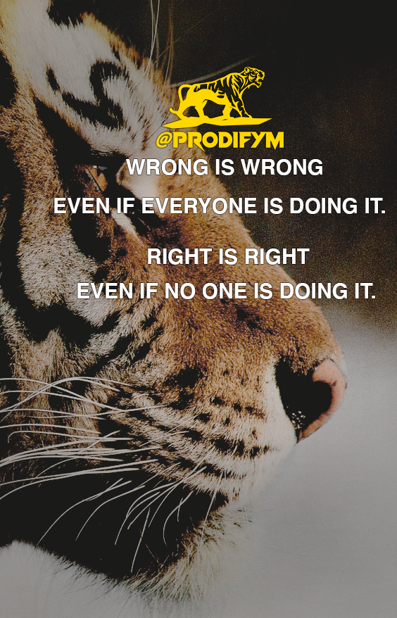 "[image] ""Wrong is wrong, even if everyone is doing it. Right is right, even if no one is doing it."""