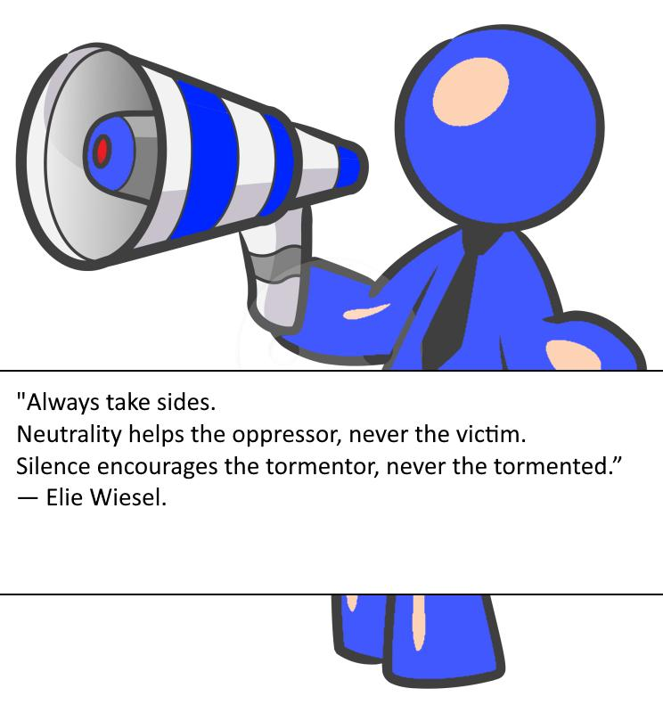 """Always take sides. Neutrality helps the oppressor, never the victim. Silence encourages the tormentor, never the tormented."" ― Elie Wiesel. [744X800]"