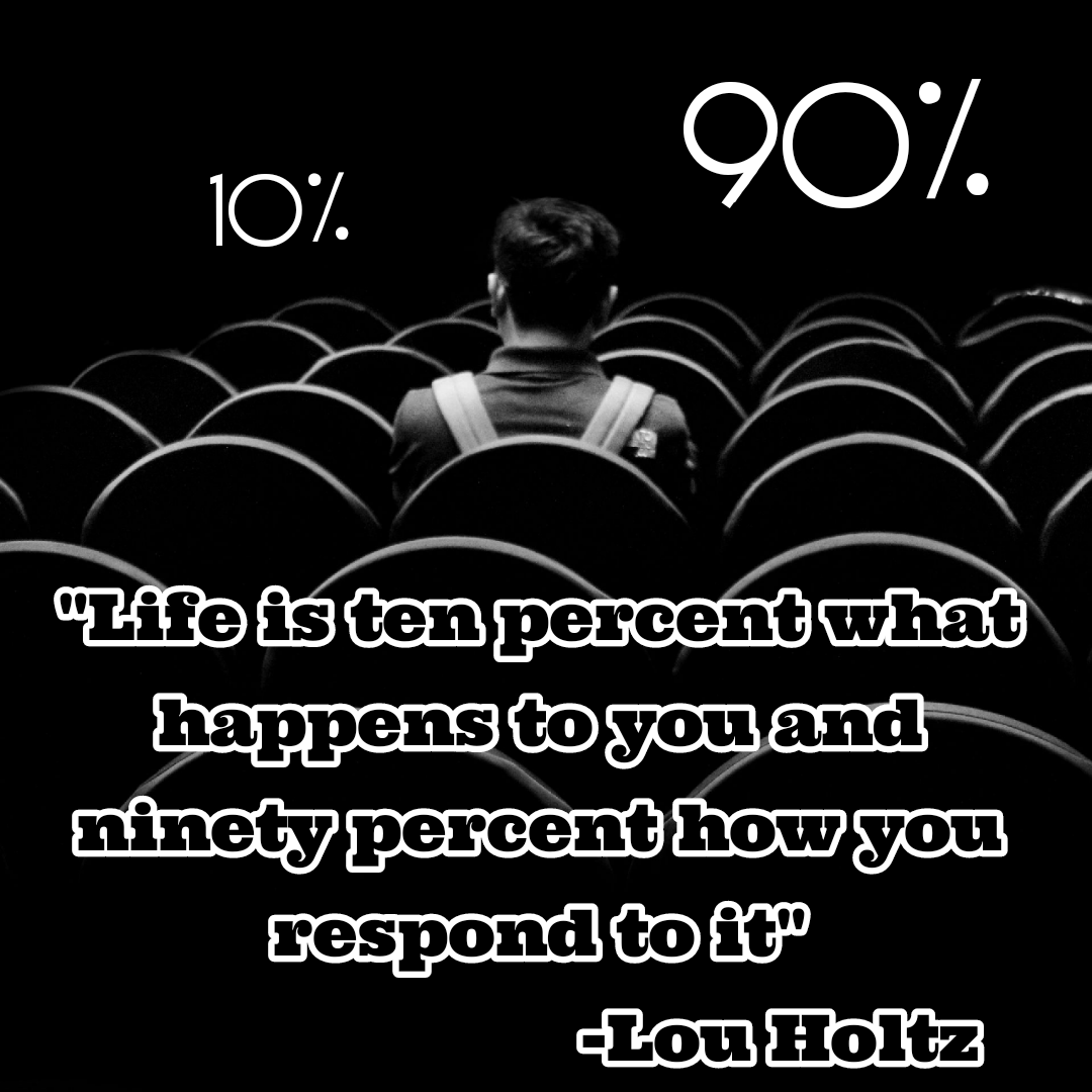 """Life is ten percent what happens to you and ninety percent how you respond to it""[1080*1080] -Lou Holtz"