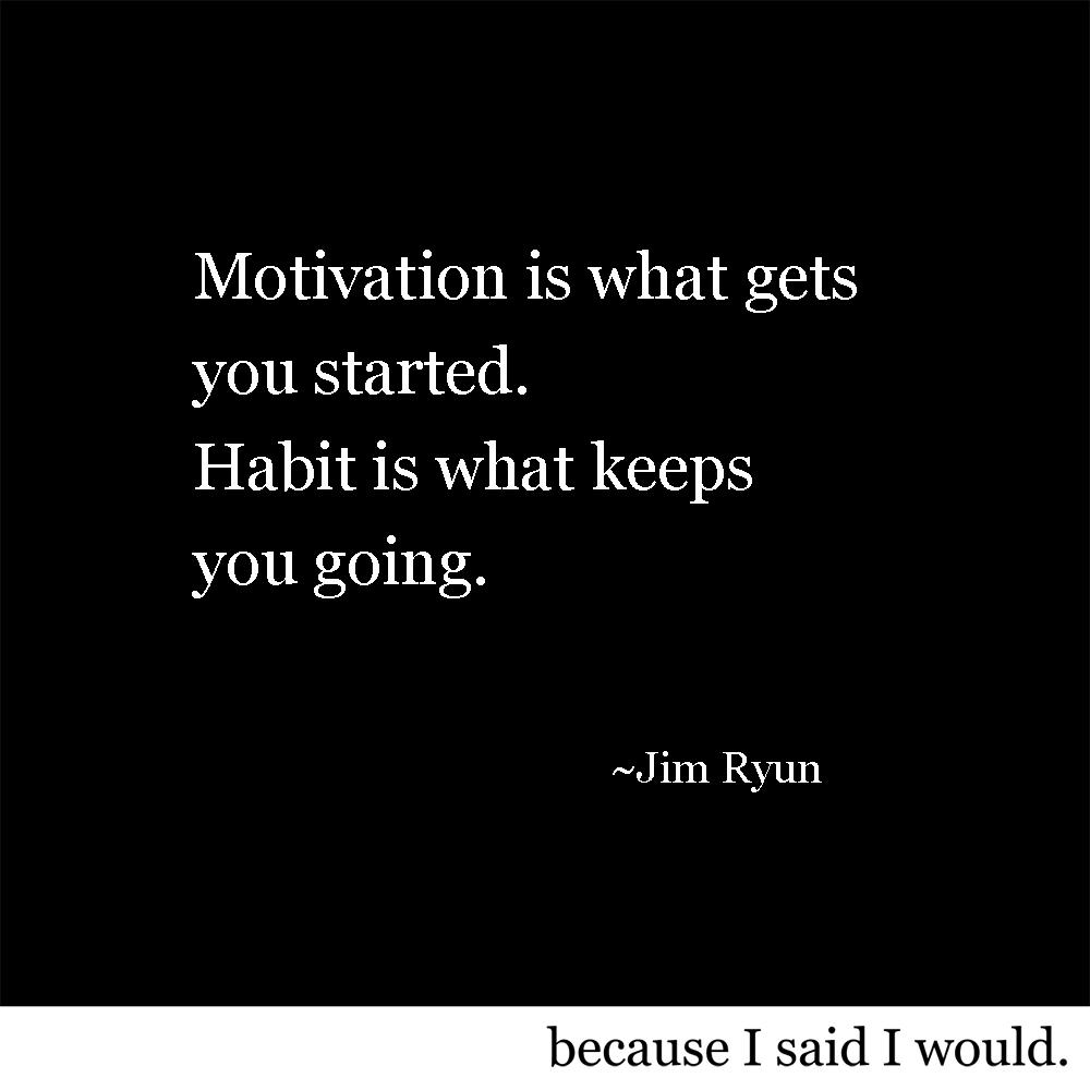 motivation is what gets you started. Habit is what keeps you going. -Jim Ryun [1000×1000]