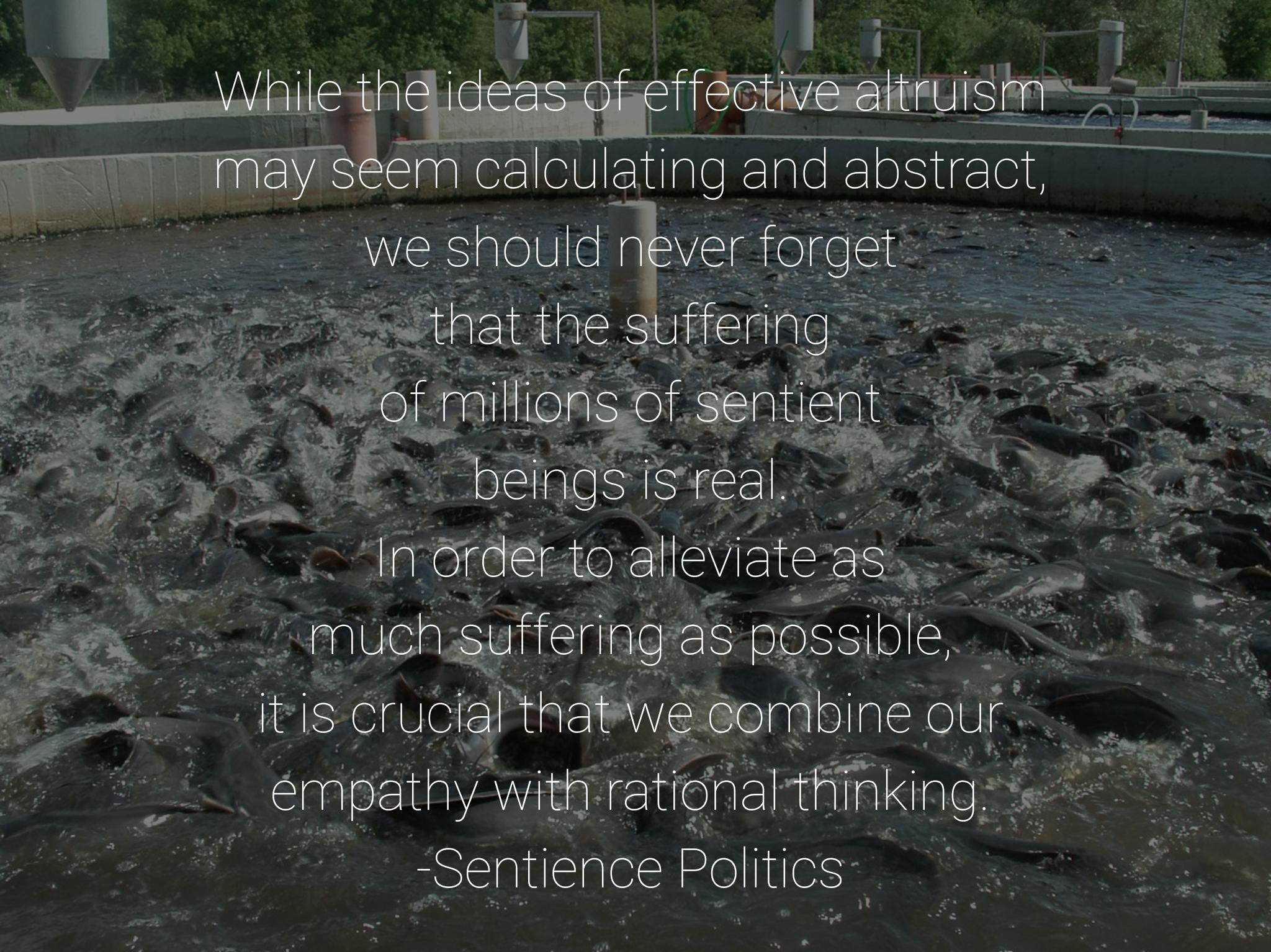 """While the ideas of effective altruism may seem calculating and abstract, we should never forget that the suffering of millions of sentient beings is real…"" -Sentience Politics [2048×1534][OC]"