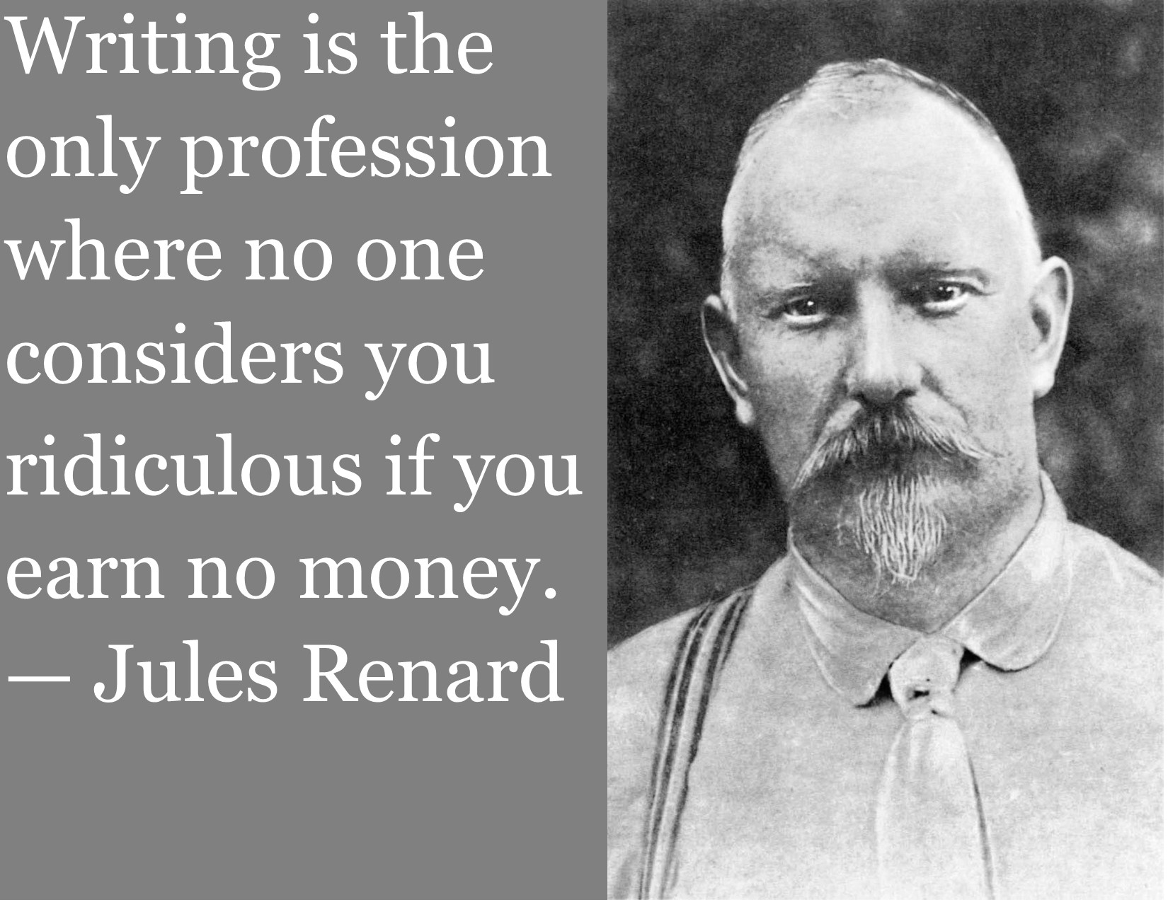 Writing is the only profession where no one considers you ridiculous if you earn no money. ~Jules Renard [1650×1275] [OC]