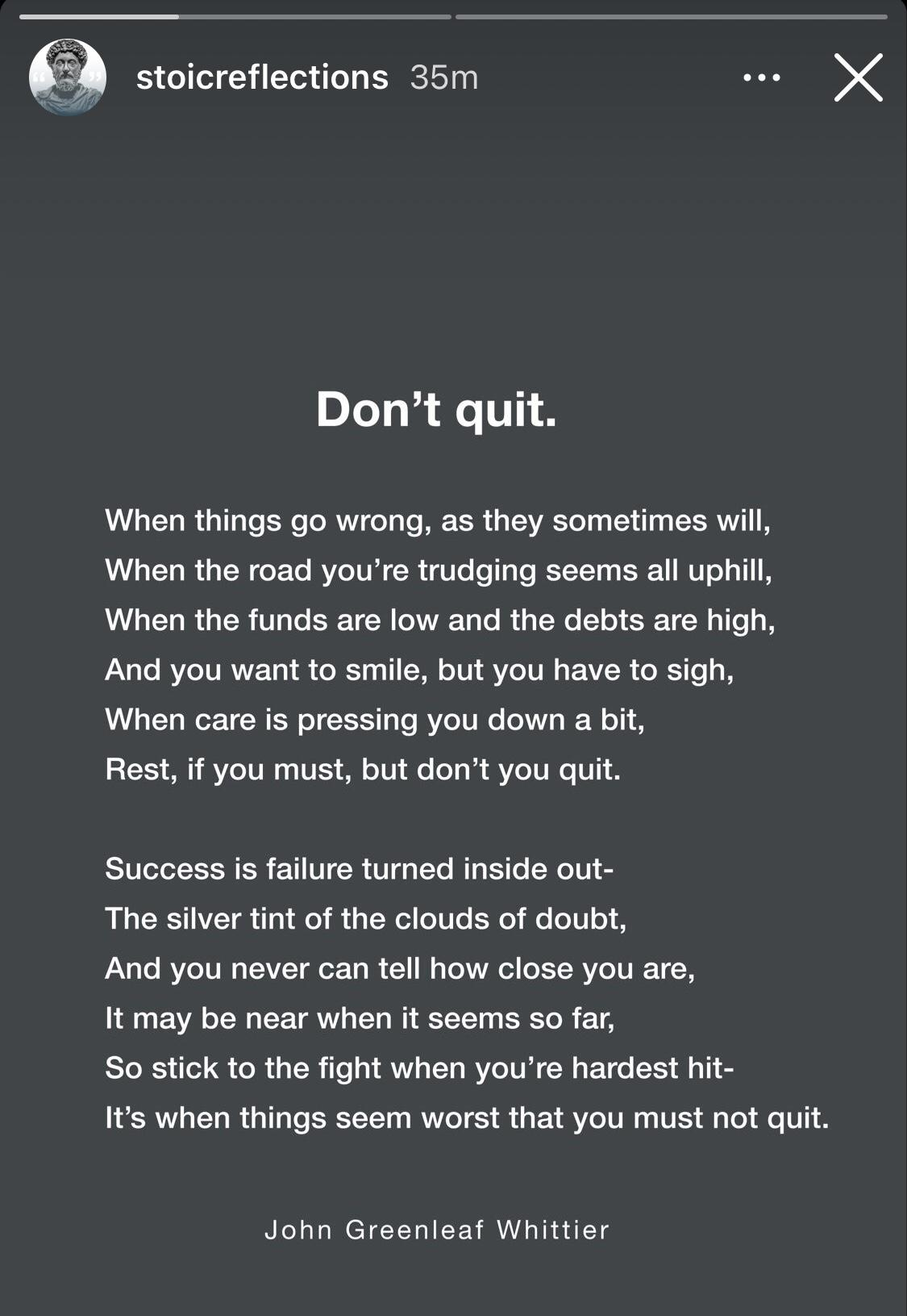 [Image] Don't Quit – An absolute gem found on iG