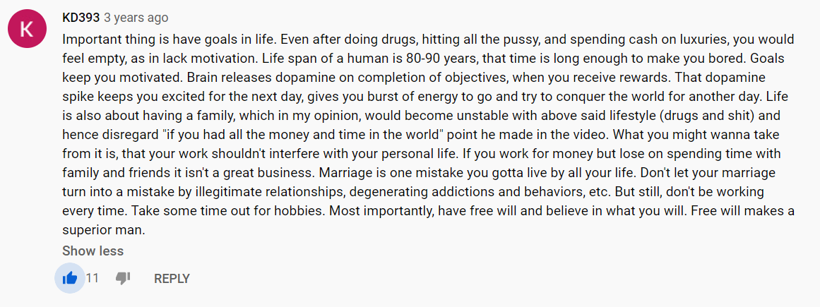 [Image] Found this in Youtube's comment section. For those of you that are addicted to Instant Gratifications.