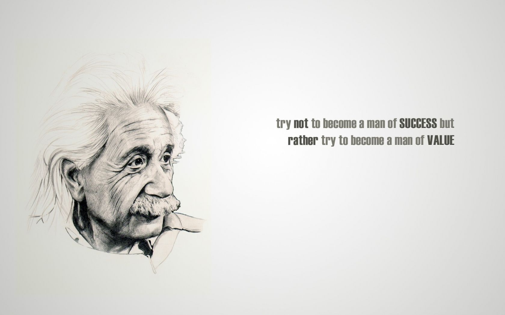 """ Try not to become a man of success but rather try to become a man of value."" – Albert Einstein [1680*1050]"