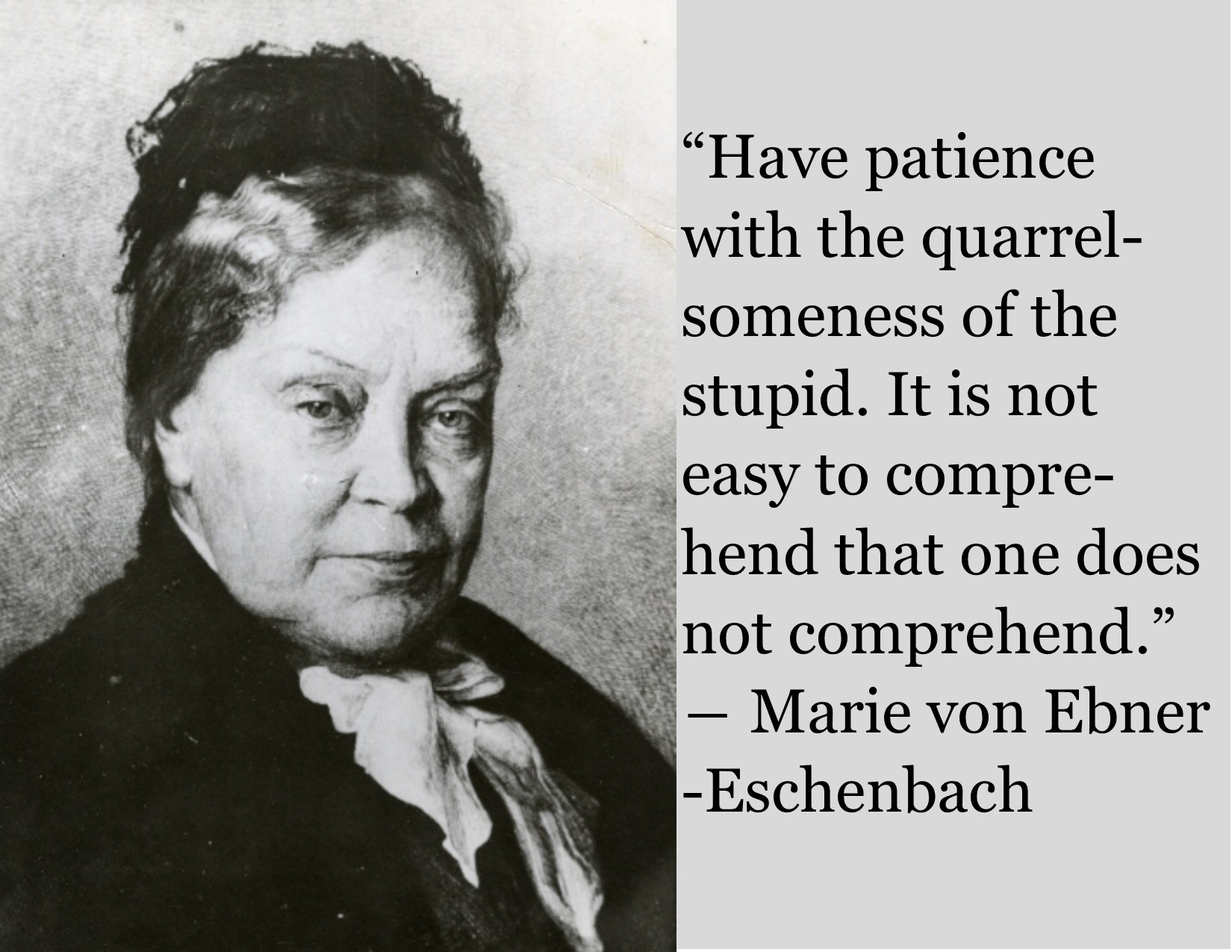 """Have patience with the quarrelsomeness of the stupid. It is not easy to comprehend that one does not comprehend."" ― Marie von Ebner-Eschenbach [OC] [1650×1275]"