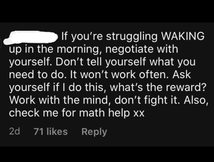 [Image] | Good piece of advice in the Instagram comments section