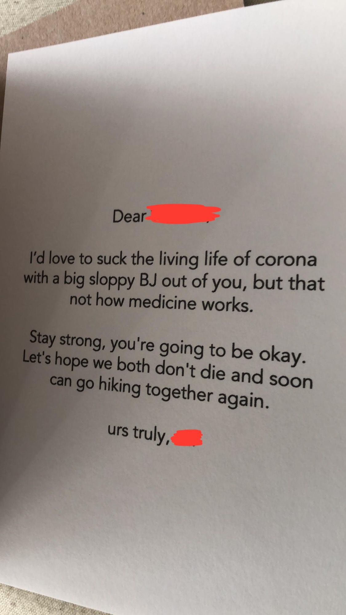 [Image] A friend of mine is in quarantine due to covid and he just got flowers and this from one of his tinder dates. Get motivated.