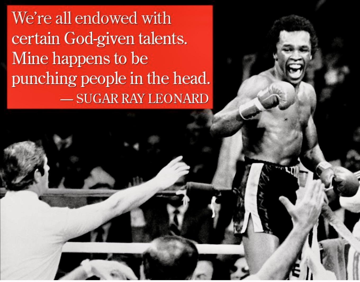 We're all endowed with certain God-given talents. ~Sugar Ray Leonard [1360 x 1065]