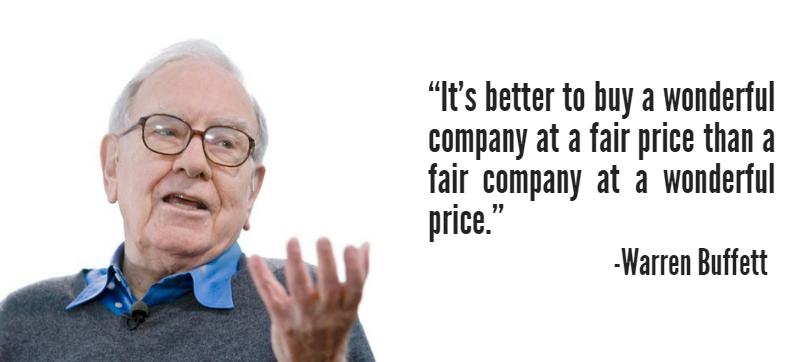 """""""It's better to buy a wonderful company at a fair price than a fair company at a wonderful price"""" – Warren Buffett [800×362]"""