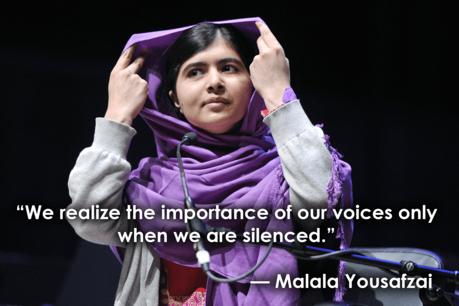 We realize the importance of our voices only when we are silenced. – Malala Yousafzai [900X600]