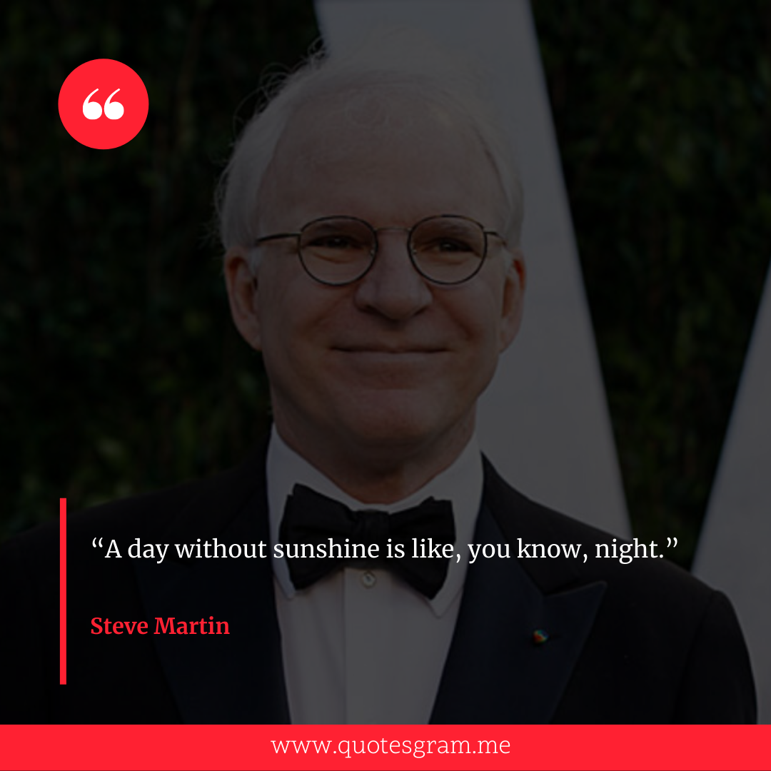 """A day without sunshine is like, you know, night."" ― Steve Martin [1080×1080]"