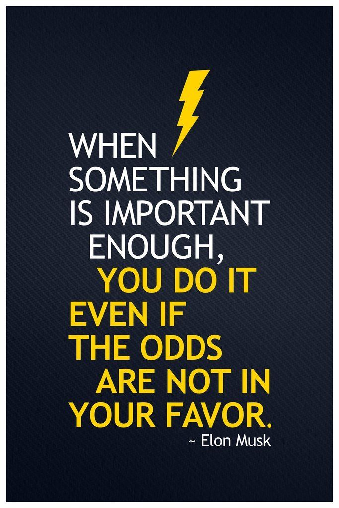 WHEN I SOMETHING IS IMPORTANT ENOUGH, YOU DO IT EVEN IF THE ODDS ARE NOT IN YOUR FAVOR. ~Elon Musk https://inspirational.ly