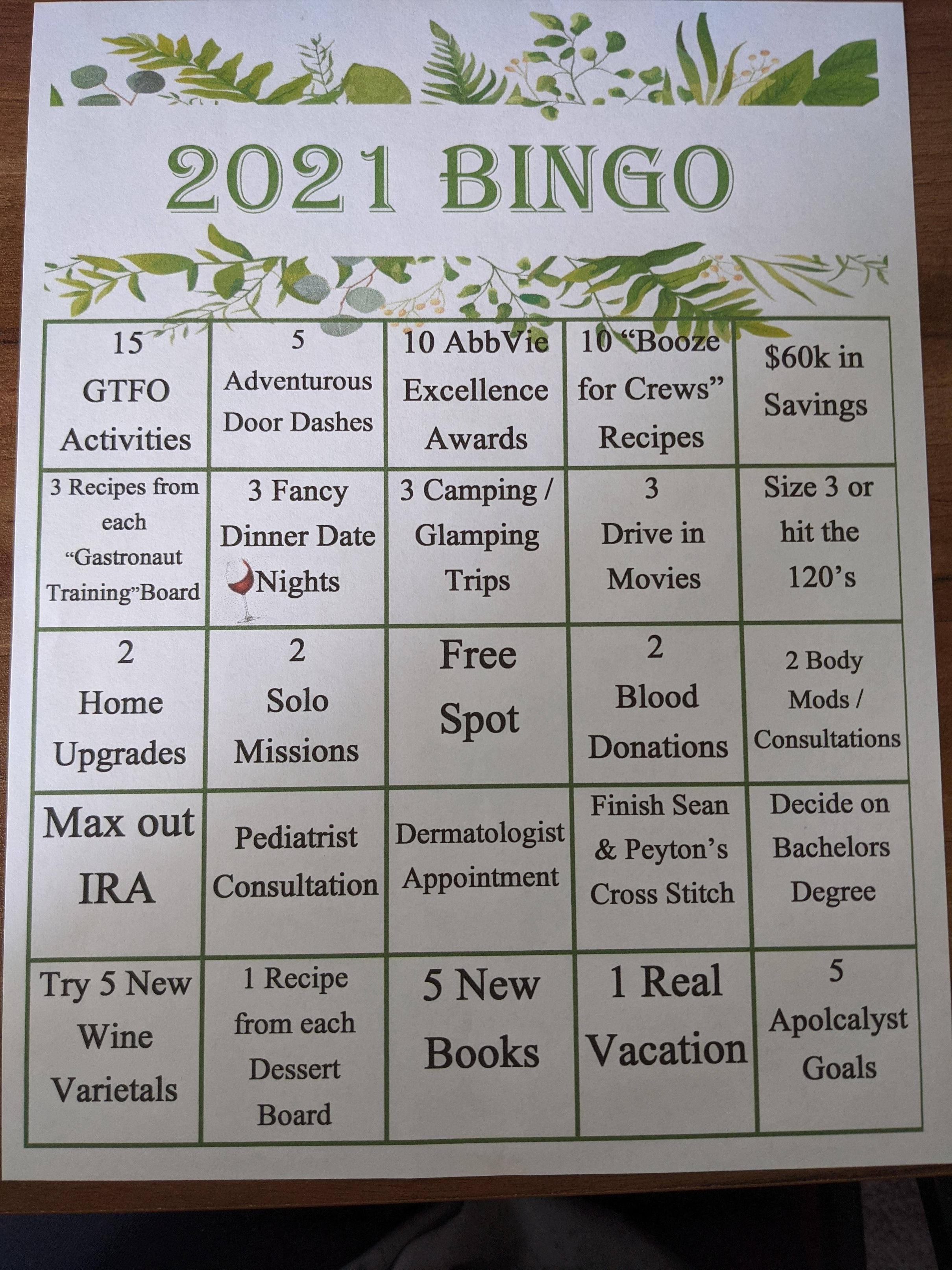 "[Image] For the last 6 years I've made myself a ""new years resolution"" bingo card to help keep me on track with my goals and desires. This year I invite you all to join me! It may seem daunting at first, but with every square you fill in you will be reminded of your strength and accomplishments."