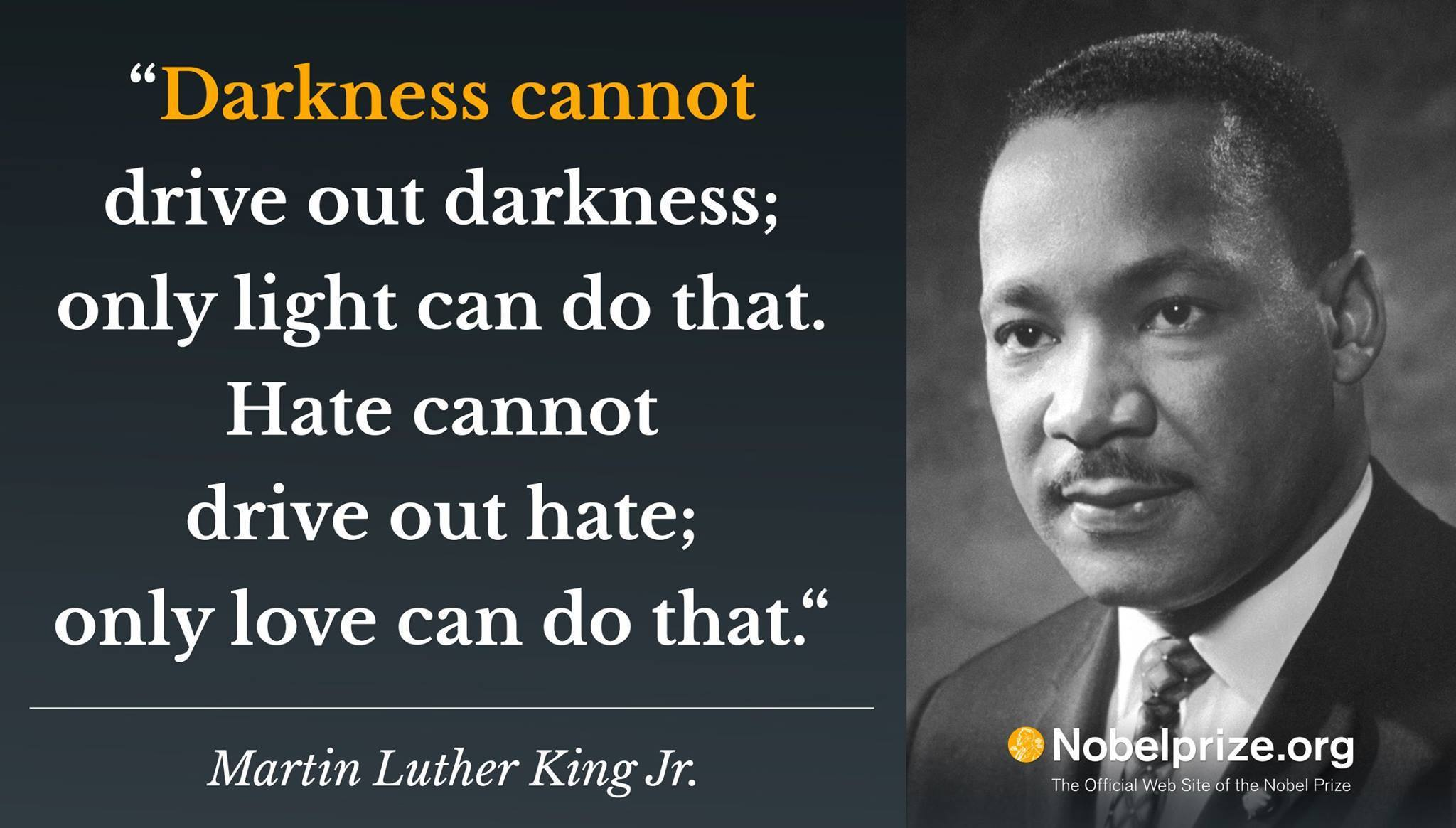 """Darkness cannot drive out darkness; only light can do that. Hate cannot drive out hate; only love can do that."" – Dr. Martin Luther King Jr."" [2048×1165]"