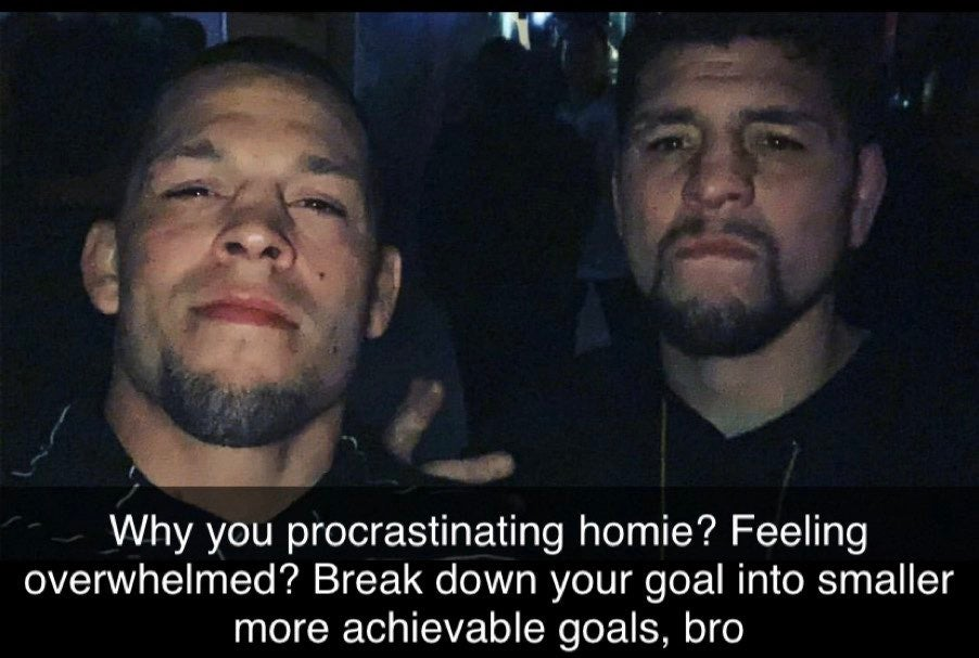 Why you procrastinating homie? Feeling overwhelmed? Break down your goal into smaller more achievable goals, bro https://inspirational.ly