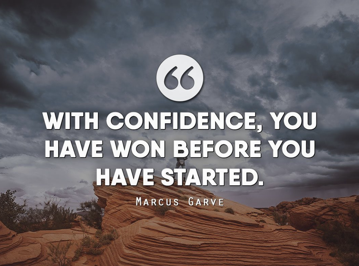 [Image] With confidence, you have won before you have started.