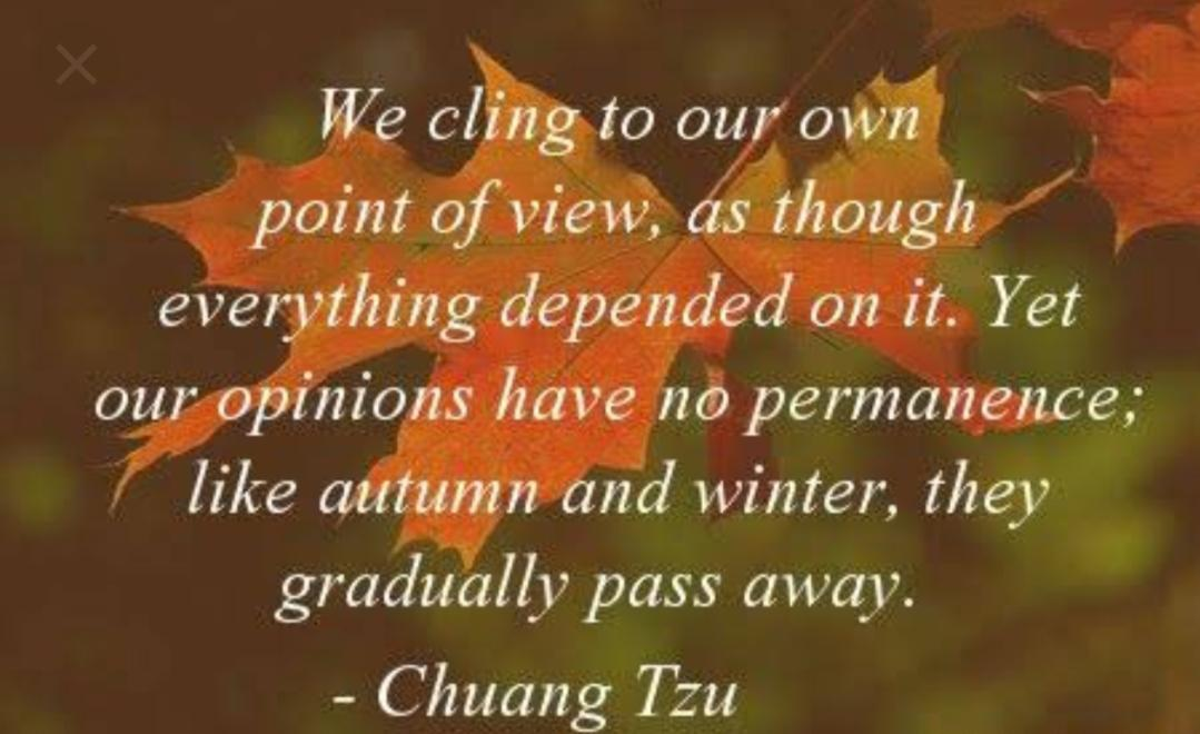 """we cling to our point of View, as though everything depended on it.yet our opinions pass like Autumn and winter""-chuang tzu [1079:660]"