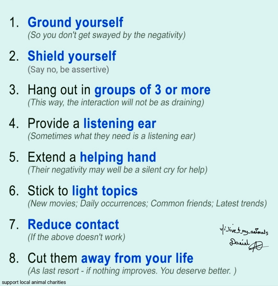 [Image] Tips on how to deal with friends or family members who drain your energy and bring you down.