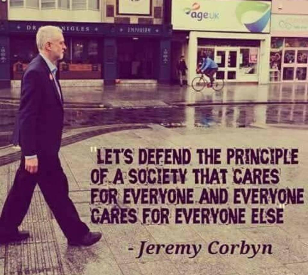 "[image]""Let's defend the principle of a society that cares for everyone and everyone cares for everyone else."""