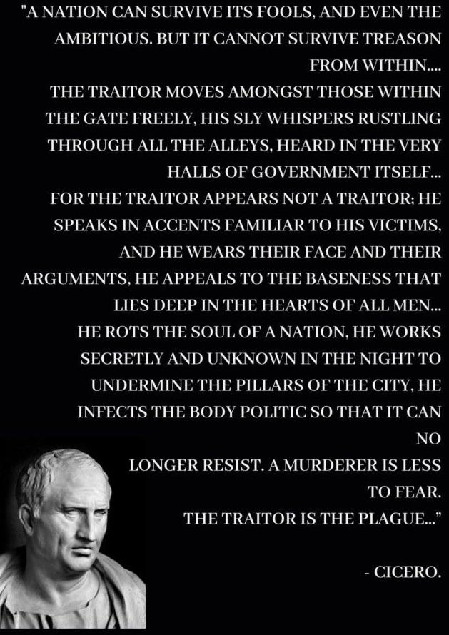 """A nation can survive its fools, and even the ambitious, but it cannot survive treason from within…"" – Marcus Tullius Cicero [1588×2246]"