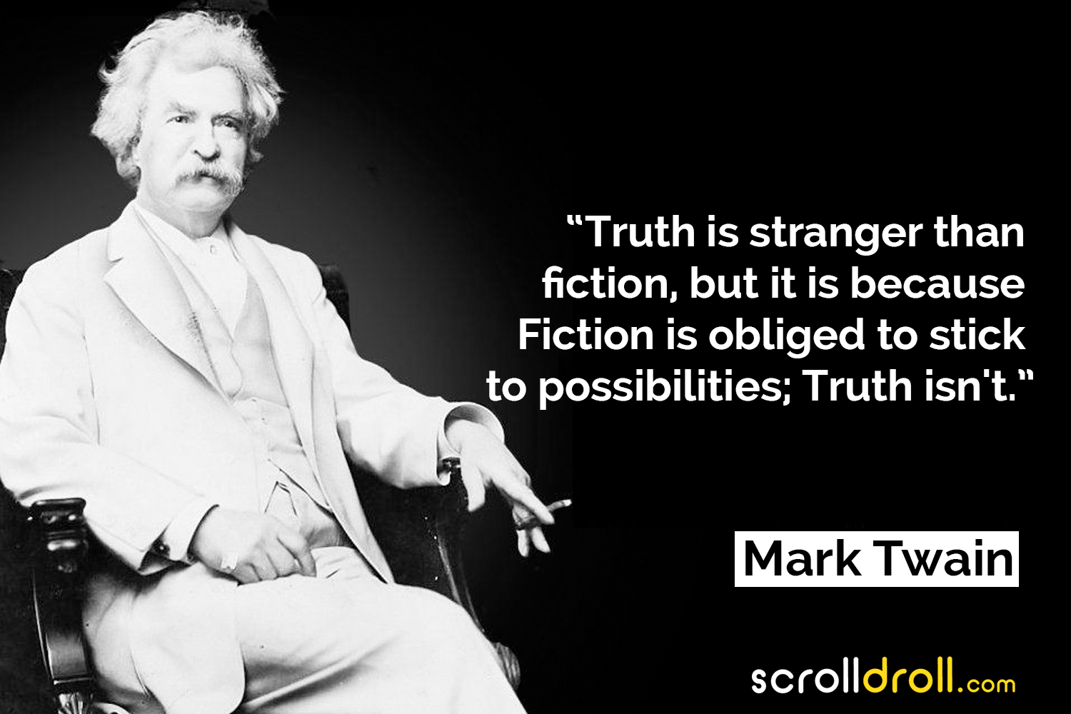 Truth is stranger than fiction, but it is because fiction is obliged to stick to possibilities; truth isn't. – Mark Twain [1500X1000]