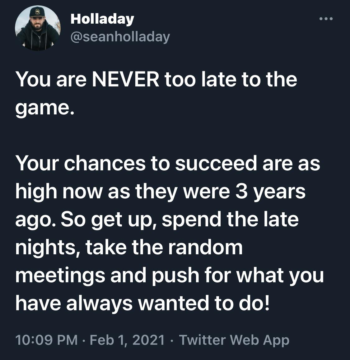 [Image] It's never too late!