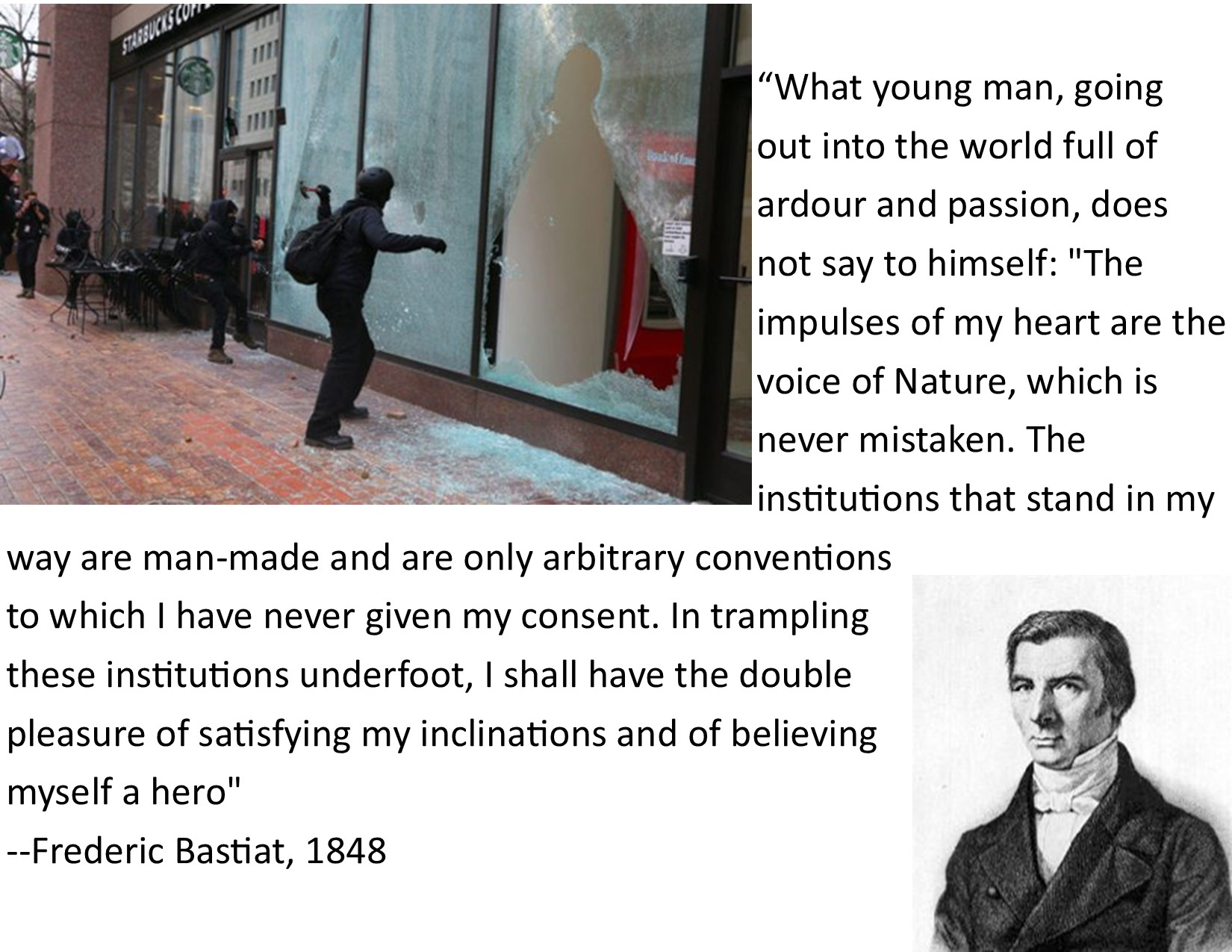 """…I shall have the double pleasure of satisfying my inclinations and of believing myself a hero."" ~Frederic Bastiat, [OC] [1650 x 1275]"