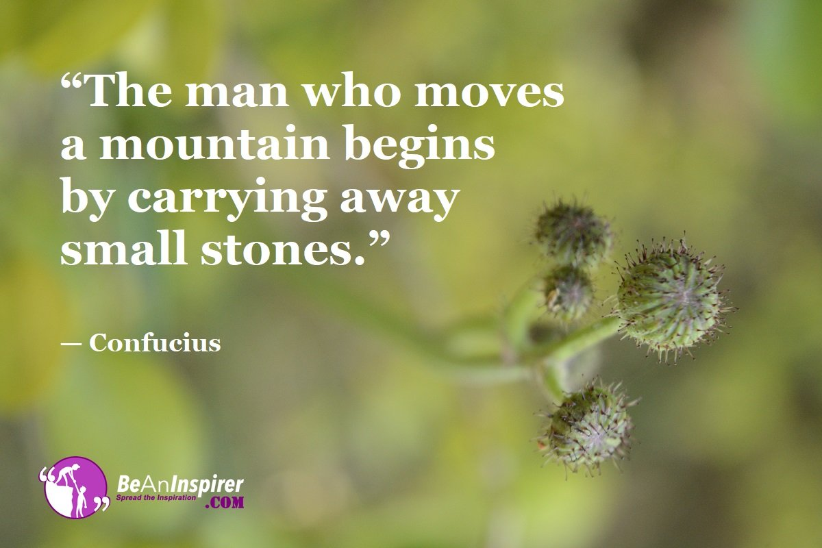 The man who moves a mountain begins by carrying away small stones. -Confucius [1200X800]