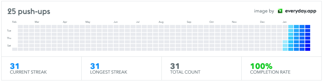 [Image] Inspired by a post from New Years I did push-ups every day of January, 31 days in a row! Almost 600 push-ups!