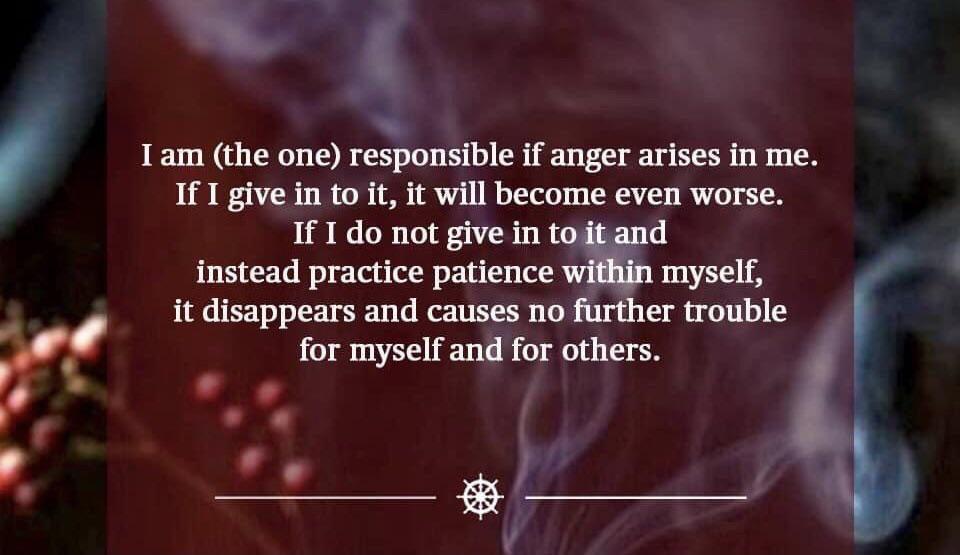 """""""' i I am (the one) responsible if anger arises in me. If I give in to it, it will become even worse. IfIdonotgiveint (1 instead practice patience myself, ' it disappears and causes no filrther trouble f O for myself and for others. l ' ' g] V https://inspirational.ly"""