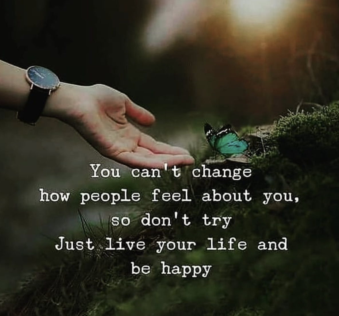 [Image] You can't change how people feel about you, so don't try. Just live your life and be happy.
