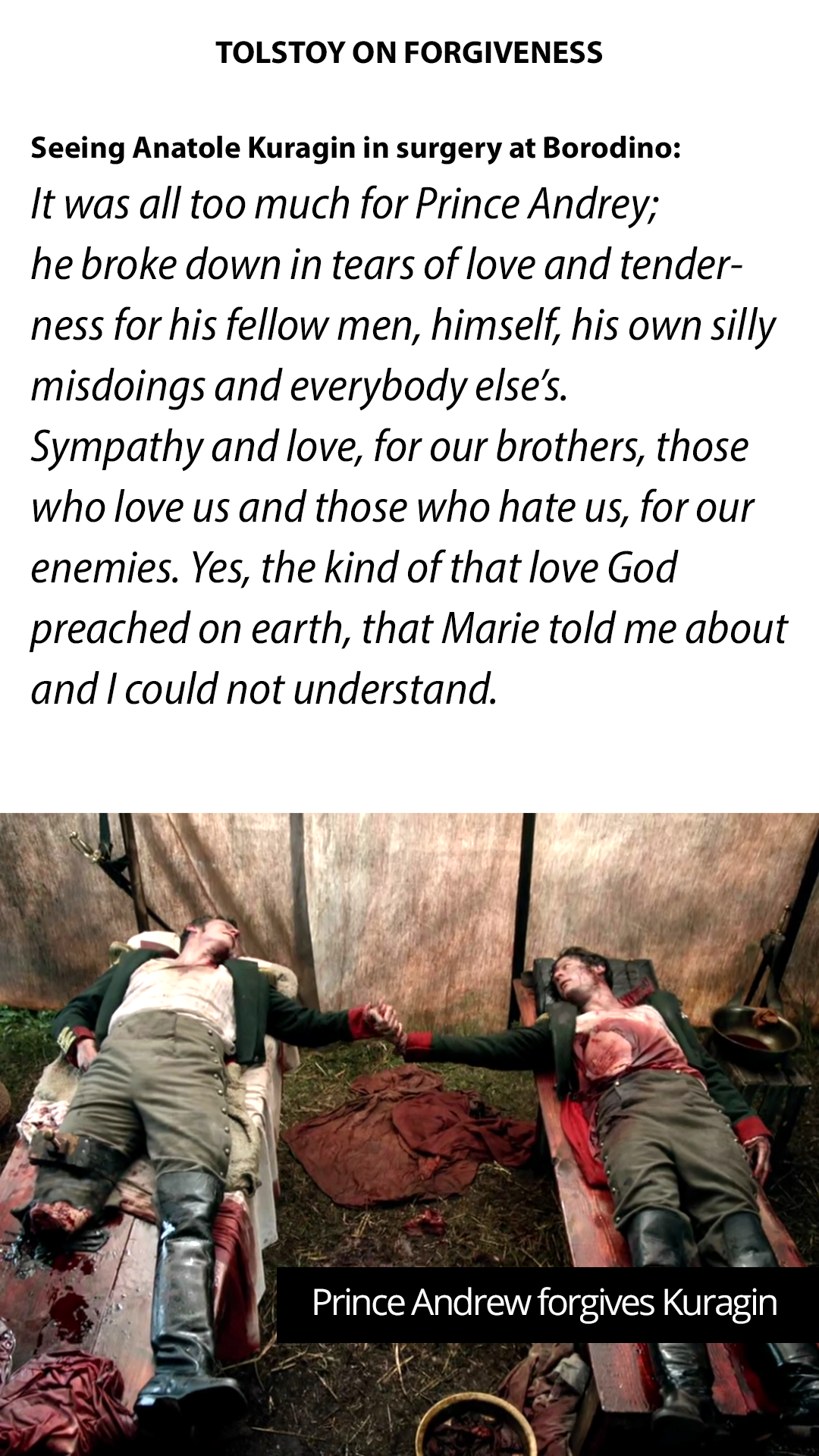 "Tolstoy on Forgiveness – ""Sympathy and love, for our brothers, those who love us and those who hate us."" [1080 × 1920]"