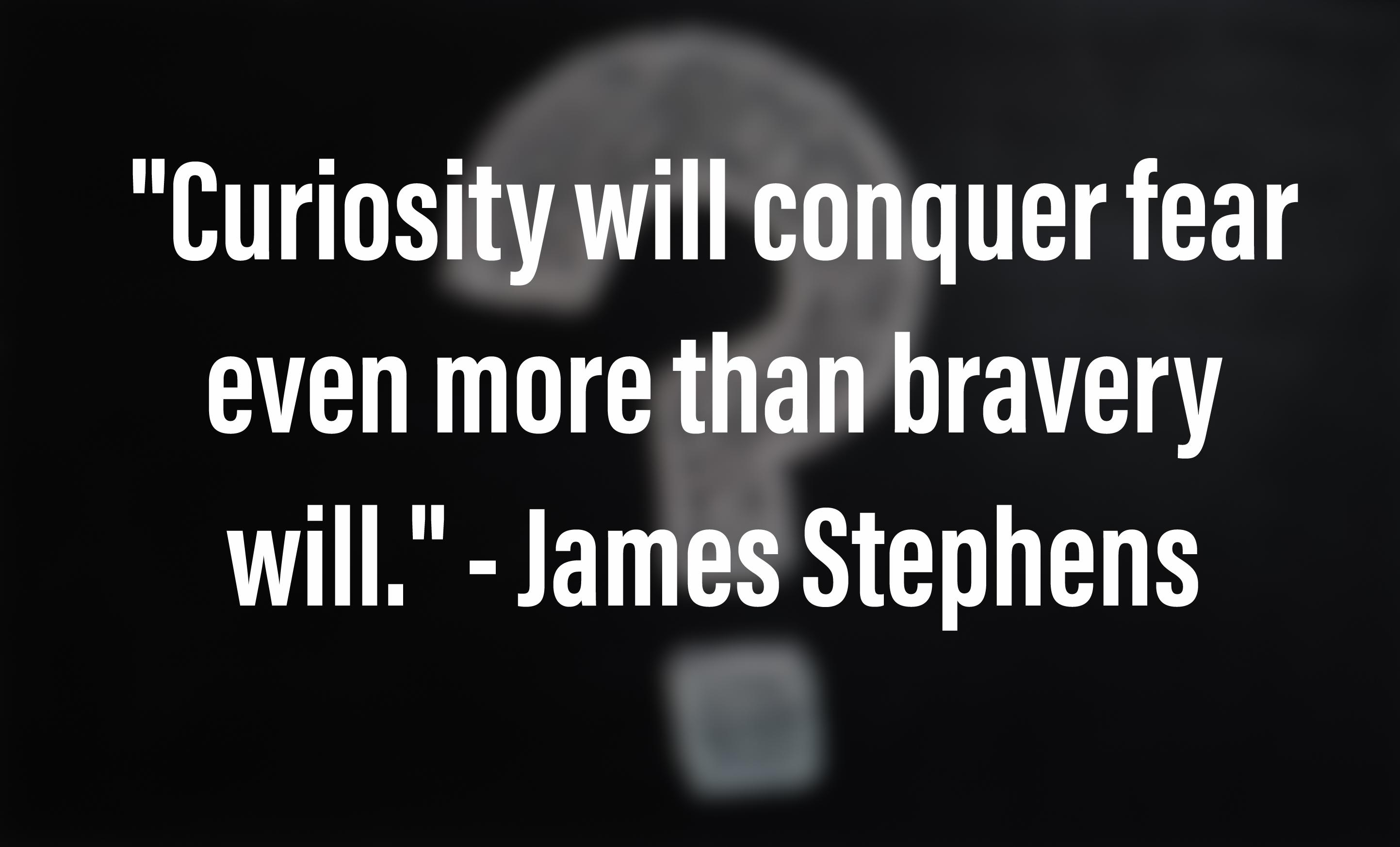 """Curiosity will conquer fear even more than bravery will."" – James Stephens [2886 x 1747]"