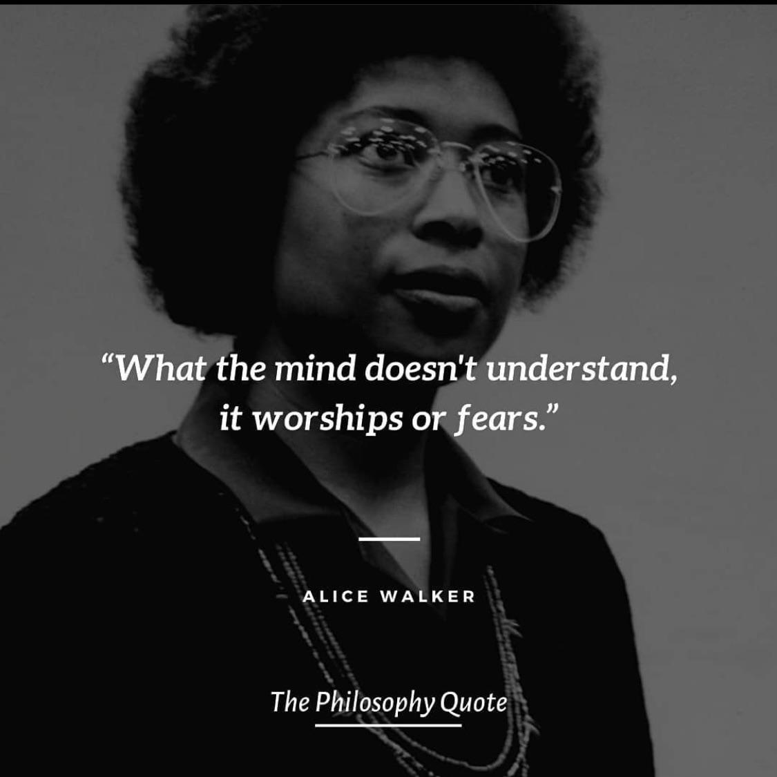 """What the mind doesn't understand, it worships or fears"" – Alice walker [1125 x 1125]"