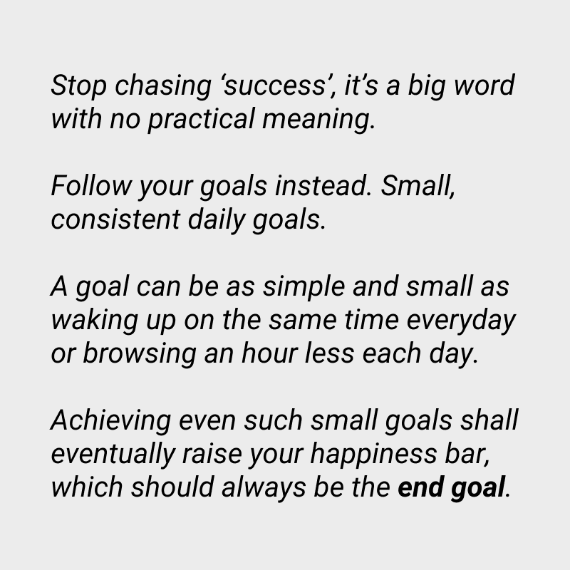 [Image] Chase goals, not 'success'.